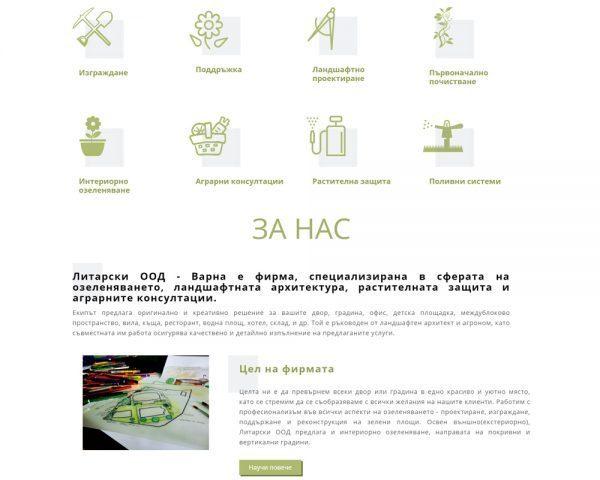 Начална страница на фирмения уеб сайт на Литарски