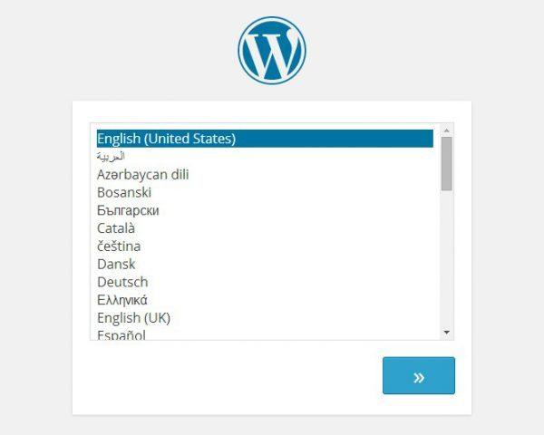 Избор на език при инсталиране на Wordpress