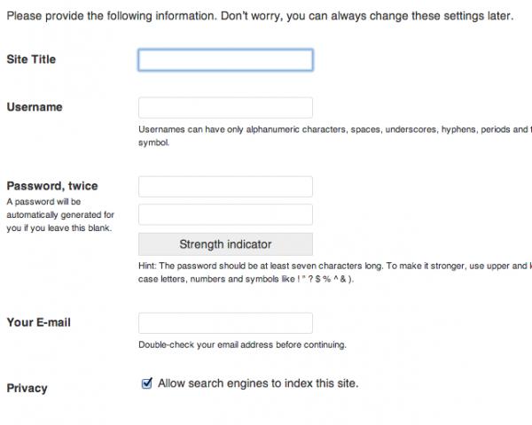 Избор на име и парола при инсталиране на Wordpress