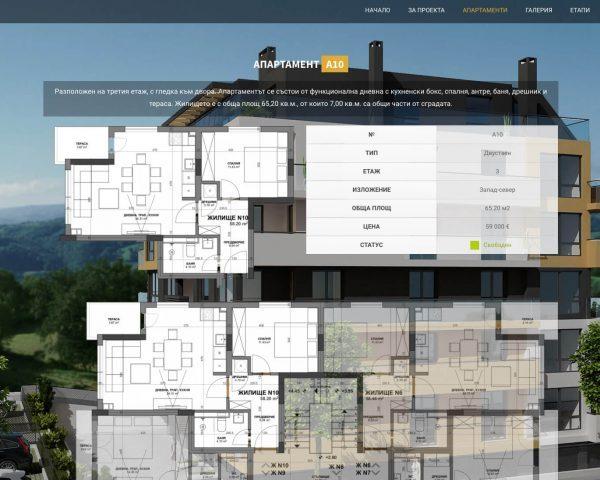 Изработка на уеб сайт на Melody Homes - страница на апартамент